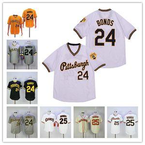 Hommes Retire Barry Bonds 24 25 Jersey gris à fines rayures Bouton crème Noir Pull Vintage Baseball Shirt broderie Taille S-3XL