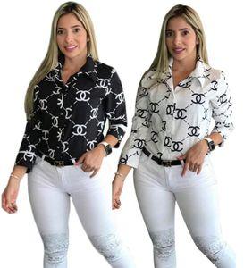 المرأة BRAND القمصان S-2XL الربيع الصيف الملابس كم طويل فضفاض القمم رسالة طباعة مصمم ملابس خارجية سترة صوفية أسود أبيض HOT بيع 1363