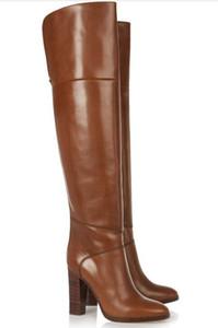 personalizzare le donne in pelle marrone stivali alti al ginocchio punta rotonda stivali da cowboy occidentali donne chunky Heel stivali pista plus size 34-46