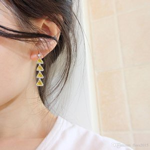 long tassel drop earrings for women new triangle design white gold color plated korean jewellery gift