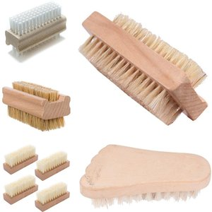Home Household Cleaning Tools Double sided bristle PP nail brush wood massage brush nail brush natural bristle cleaning brushes 6053