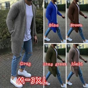 Para hombre Maxi vestido de suéter del invierno del otoño de manga larga Cardigan Diseñador géneros de punto de los hombres jersey de punto ropa abrigos
