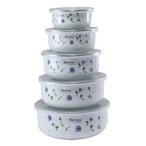 5PCS  set Enamel Cold Storage Bowl Instant Noodle Rice Bowl Fresh Bowl Box Sealed with PP cover