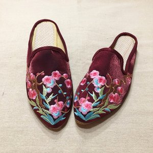 Veowalk Chinese Embroidered Women Silk Cotton Close Pointed Toe Mules Slippers Summer Autumn Vintage Ladies Slip on Flat Shoes Y200624