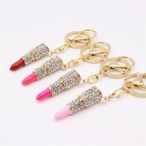 Metal insert drill Lip Gloss Lipstick key buckle Car pendant key ring s Fashion Jewelry Metal Crystal Lipstick key chains T9I00191