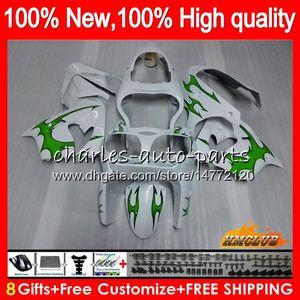 Cuerpo para Kawasaki ZX900 ZX9 R ZX 9R ZX9R 98 99 00 01 55HC.63 900cc 98-99 blanco verde ZX 9 R 900 ZX9R 1998 1999 2000 2001 carenados ABS kit