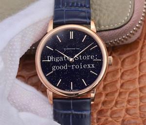 Relojes de oro de lujo de 39mm Relojes de oro Saxonia Azul arena de piedra Dial automático ETA 2892 Reloj Reloj de cuero de becerro para hombre Relojes de pulsera