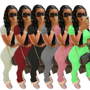 Diseñador de las mujeres chándal Pantalones cortos Trajes de deporte rosa top de la camisa + pantalones 2 pantalones pieza Conjunto mujer de color rosa para mujer de las señoras sudaderas Ropa