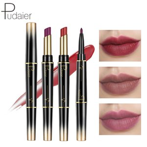 Pudaier New Double-end Matte Lip Lipstick Pencils Lip Liner Pen Waterproof Easy to Wear Nude Velvet Matte Stick Cosmetic