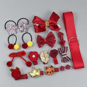 18 piezas de de pelo kırpma ayarını accesorios bonitos para el pelo sombreros Nina Arco animados tocado elástico regalo Resim kutusu