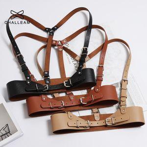 Women Punk Harajuku Waist Belts Strap Faux Leather Body Bondage Cage Sculpting Harness Waisband Black Suspenders Belt 375