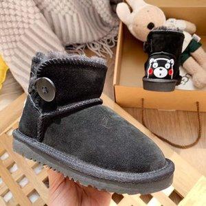 2020 Cute Bear Button Winter Snow Leather Boots Австралия Дети обувь мальчик девочка молодежь малыш Sneaker размер 25-34