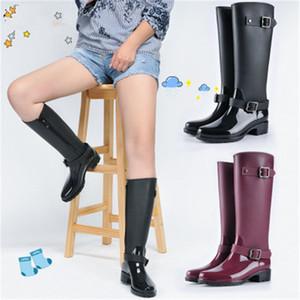 Venta-2019 nuevo de las mujeres zapatos de moda estilo punky Talón botas de montar de la cremallera Zapatos Knight botas altas lluvia de las mujeres calientes