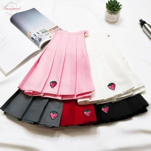 Xs Xxl Five Colors Summer A Line New A Line Women Skirt High Waist Strawberry Embroidery Pleated Skirt Women Safety Pants Mini