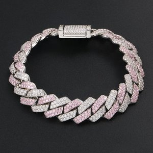 Fashion Silver Pink Color Matching Zircon Strip Cuban Chain Bracelet Hip Hop Bracelet for Men and Women