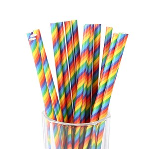 Rainbow Paper Straws Happy Birthday Wedding Party Decorative Event Party Supplies Environmental Creative Drinking Straws CT0488
