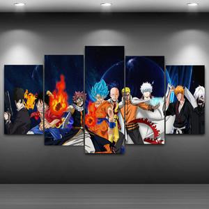 5 피스 드래곤 볼 Z Goku 나루토 원피스 Luffy One 펀치 맨 애니메이션 포스터 Unframed HD Canvas Print 홈 장식