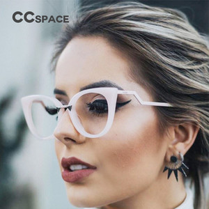 Señora atractiva del gato del ojo de vidrios de las mujeres Marcos Rojo Blanco CCSPACE 45045 Marca lentes ópticas del templo del metal Moda Gafas