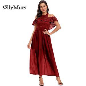 Halter Lace Women Party Dress LR926 Off The Shoulder Backless Elegant Evening Dresses Ankle-Length Embroidery Vestidos De Fiesta