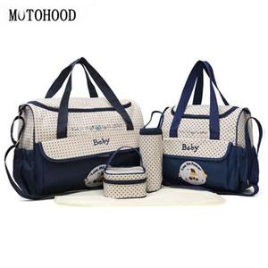 MOTOHOOD 38 * 18 * 30 centímetros 5pcs saco de fraldas do bebê Sets Mudar a Fralda Bag For Mom Multifunction Stroller sacola Organizador Y200107