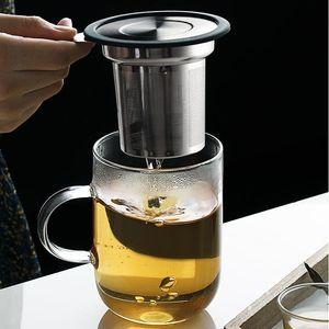 304 Stainless Steel Tea Infuser with Lid Dustproof Tea Strainer with Handle Tea Filter Mesh WB1927
