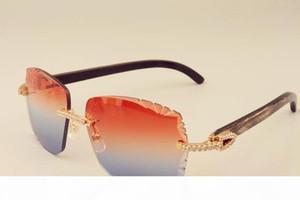 Nova moda de luxo óculos de sol de diamante 3524014 chifres de padrão preto natural pernas espelhos óculos de sol gravando lente personalizada privada
