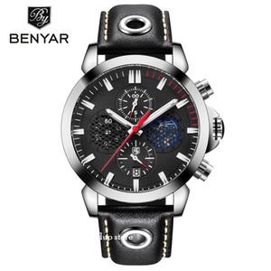 Großhandel BENYAR Männer Quarz-Datum-Uhr-Lederband Drei kleine Zifferblattzeiger neue beiläufige Art und Weise Geschäfts-Armbanduhr