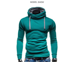Hoodies Men Sudaderas Hombre Hip Hop Mens Solid Color Turtleneck Pullover Hoodie Sweatshirt Slim Fit Men Hoody