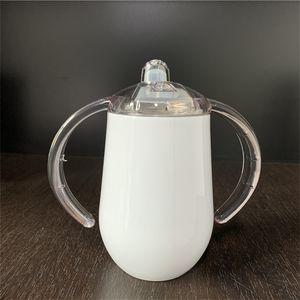blanc gobelets Blank Sublimation Gobelet en acier inoxydable enfants verre de boisson avec poignées chaleur enfants de transfert culbuteurs 10 oz
