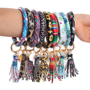 PU Leather Bracelet Tassel Keychain Wrap Leopard Sunflower Print Wristband Round Leather Tassel Bangle Key Ring Party Favor Gifts YFA01