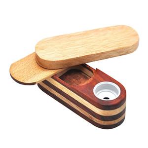 Holz Aufbewahrungskoffer Tabak Box Drehen Falten Tragbare Innovative Design Rauchen Mini Metall Schüssel Rohre Filter Für Hohe Qualität Mehrfachverwendung DHL