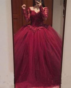 Borgonha Quinceanera Vestidos 2019 Modest Doce 16 Vestido de Baile Renda Fora Do Ombro lace up Manga Comprida Prom Vestidos de Festa de Aniversário Vestidos De 15