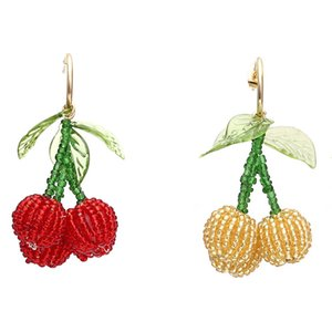 2 Colors Hand-woven Crystal Beaded Dangle Earrings Cute Cherry Pendant Earrings Fruit Earring for Women Fashion Accessories Jewelry