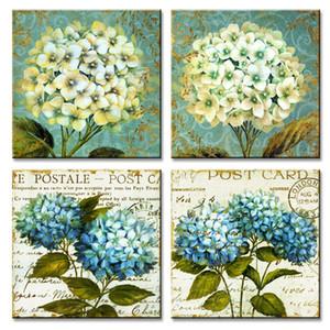 4 Панели Холст Wall Art Картина Зеленого цветок гортензия Изображение распечатки Произведение Modern для гостиной Декора растянутых Обрамлено