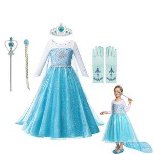 Baby Girl Dress ragazze Fancy maniche lunghe girocollo Costume Bling sintetico Cristallo Corpetto principessa Elsa partito del vestito Snow Queen Cosplay