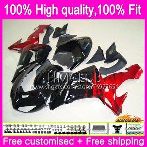 100% para inyección en forma para KAWASAKI ZX ZX1000 C 10 R ZX10R 06 07 Cuerpo Rojo Negro 63HM.10 ZX10R 06 07 ZX1000C ZX 10R 2006 2007 OEM kit del carenado