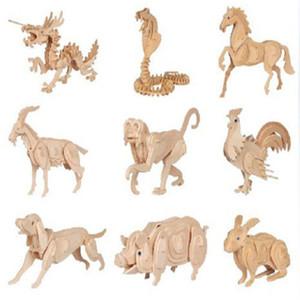 3D Holz Puzzle Holz DIY Holz DIY Modell Wandbehang Tiertier-Kopf Kind Kinder Spielzeug Intelligentes Spielzeug Heißer Verkaufs-2019