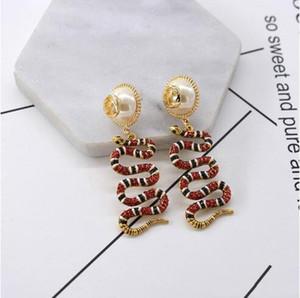Luxus Niedriger Preis Snake Diamant-Bolzen für Frauen Rhinestone-Schlange Tierohrring-hängende Frauen Accesscires-Perlen-Blumen-Ohrring-GD75