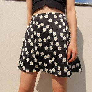 Estate delle donne Harajuku Gonna a vita alta con stampa floreale casuale Beach gonna corta con la chiusura lampo per la femmina 2020 Streetwear Moda
