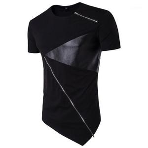 O Yaka Kısa Kollu Moda Erkek Deri Kasetli Tasarımcı Erkek tişörtleri Şık Kontrast Dikiş İlkbahar Yaz Casual Tees Tops