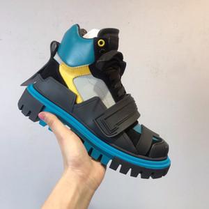 Triple Sneaker Platform Shoe Vintage Women Casual Shoe High Top Leather Sneakers Mixed Colorful Boots Flat Espadrilles Black Blue