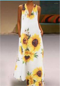 Kadınlar Tasarımcı Günlük Elbiseler Ayçiçeği Baskılı Derin V Yaka Kolsuz Bayan Elbise Artı boyutu Kadın Giyim Yaz