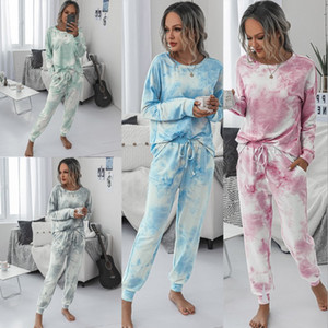 2020 girocollo nuove donne di modo di stampa tie-dye Home Furnishing vestito delle donne Casual Wear casa Tether manica lunga Pantaloni Suit