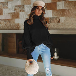 Woman Lantern Sleeve Turtle Neck Sweaters Street Knitted Tops Womens Loose Solid Color Sweaters Ladies Winter Sweaters