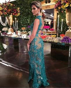 Vestidos 녹색 Evenign 드레스 레이스 환상 긴 이브닝 드레스 높은 분할 층 길이 정장 드레스 로브 드 야회