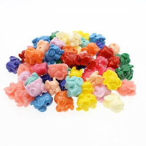 100pcs Mix Color Carving Elephant Coral Beads For Jewelry Making Loose 14mm Handmade Coral Beads DIY Accessories