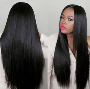"""30 """" uzun düz saç sentetik peruk kadınlar Için siyah ön koparıp Brezilyalı düz Dantel peruk"""