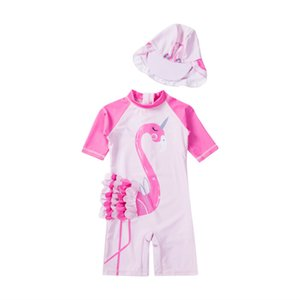 Children Beachwear One-Piece Suits Swimwear Baby Kids Girl Summer Beach Swimsuit Swimming Costume Trunks+Hat Set 2pcs Set