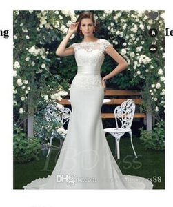 Plus Size Wedding DressesBateau Lace Trumpet Mermaid Court Train Wedding Dress