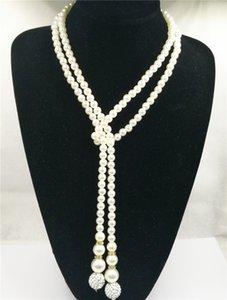 Damen-Party-Strand-lange wulstige Aussage Halskette nachgemachte Perlen Schmuck Strang-Halskette für Frauen Kolye Hochzeit Schmuck